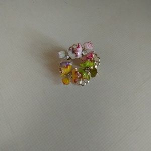 Jewelry - Enamel & Gem Floral Pin